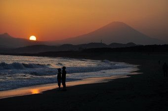 茅ヶ崎から見る夕日の富士山.jpg